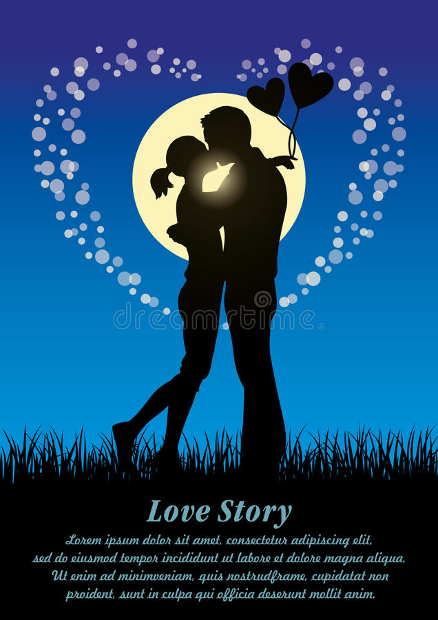 Lovers kissing couple silhouette royalty free illustration