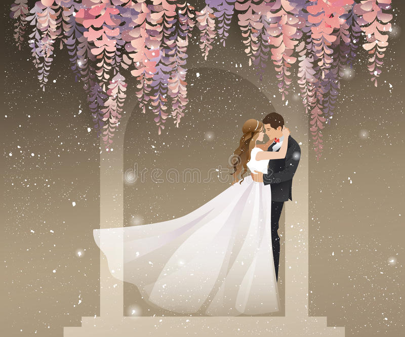 Lovers kissing under the wisteria vector illustration. A pair of lovers kissing under the wisteria flower vine. Vector illustration for weddings, Valentine's Day royalty free illustration