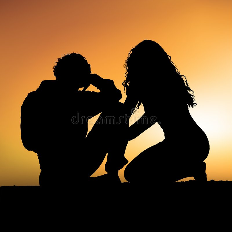 Lovers L. Coloured vector illustration - two amorous silhouettes stock illustration