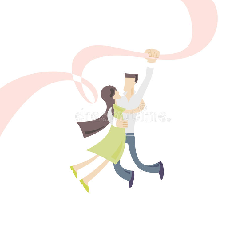 The lovers. A man loves a woman, they are falling in love stock illustration