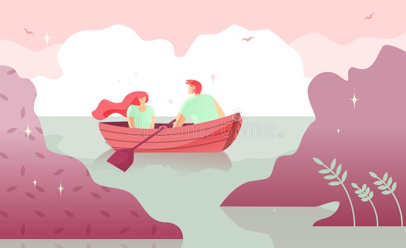 Lovers Man and Woman Boating on River Cartoon. Warm Intimacy Young People. Manifestation Romance for Couples. Vector Illustration Colored Background. Rest on stock illustration
