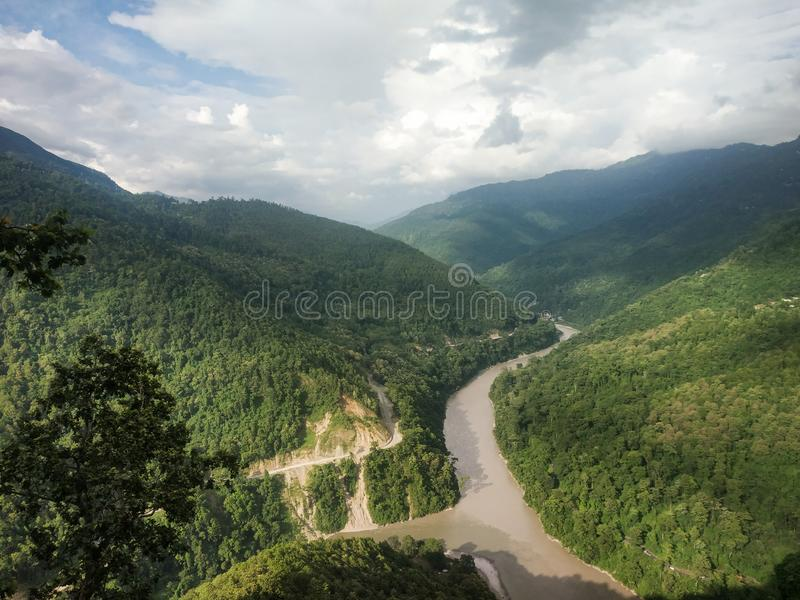 Lovers meet view point with a nice view of two rivers meeting point royalty free stock photos