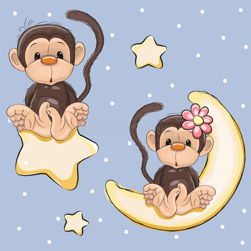 Lovers Monkeys stock illustration