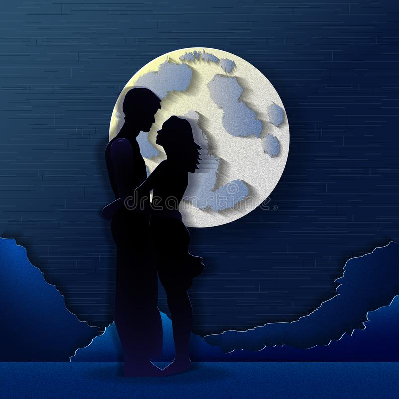 Lovers in the moonlight stock illustration