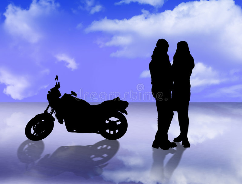 Lovers and motorbike stock illustration