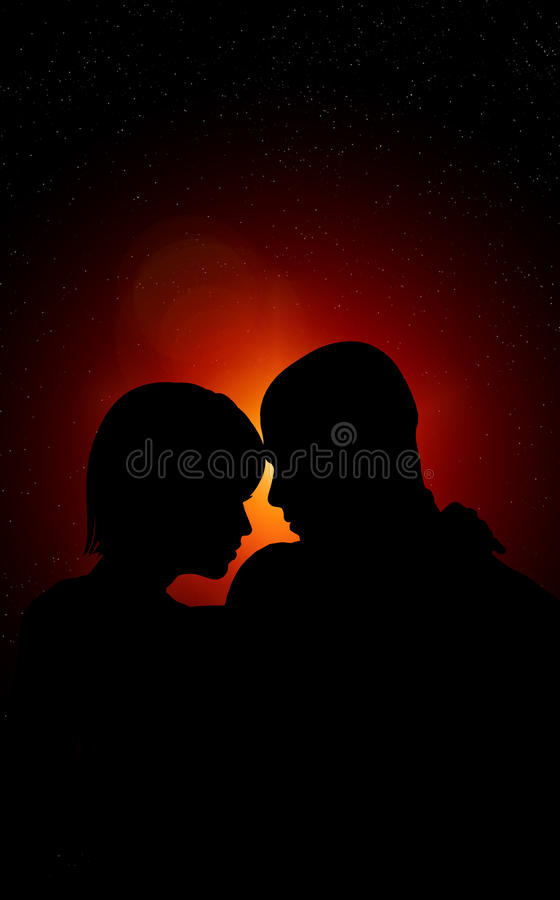 Lovers At Night Stock Photography