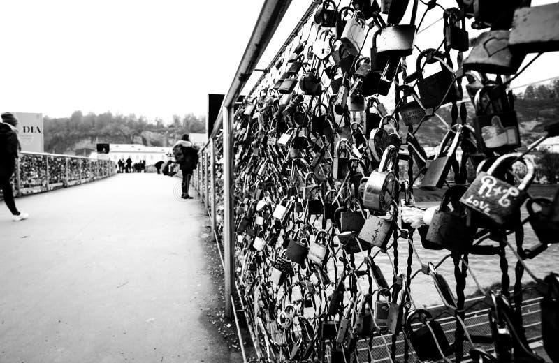 Lovers. Padlocks of lovers - Bridge in Salzburg royalty free stock image