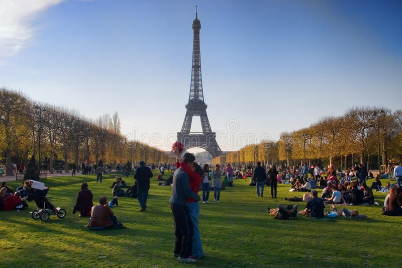 Lovers in Paris royalty free stock image