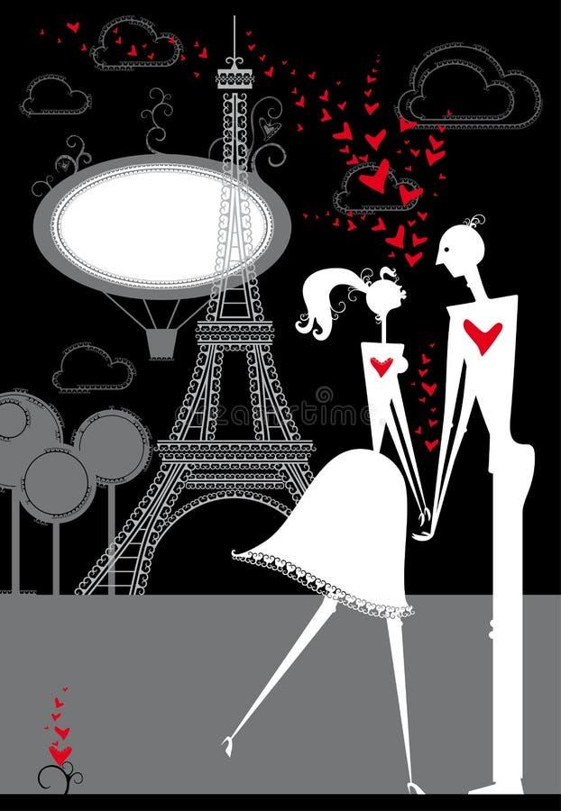 Lovers in Paris. Passionate lovers in Paris. Romantic night in Paris vector illustration