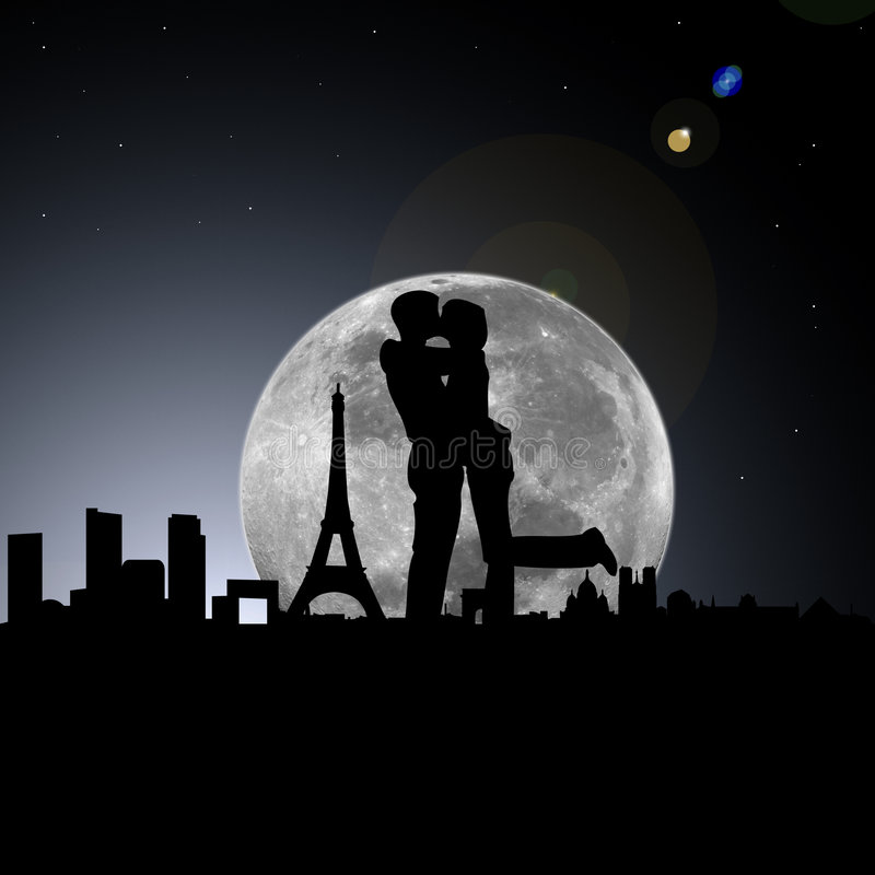 Lovers In Paris Night With Moon Stock Illustration