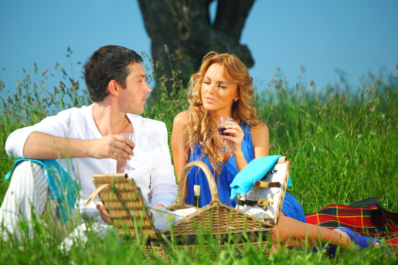 Download Lovers on picnic stock photo. Image of blue, friendship - 20624352