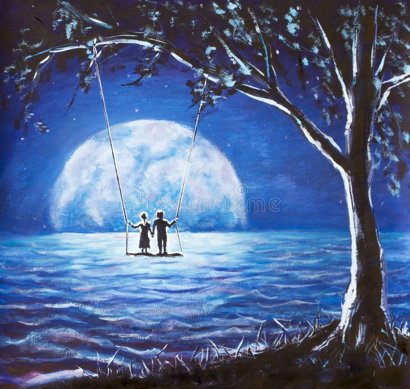 Lovers ride on swing, male man and girl woman against background of big moon. night blue ocean, sea waves, fantasy, romance, love,. Happiness, dreams artwork stock photography