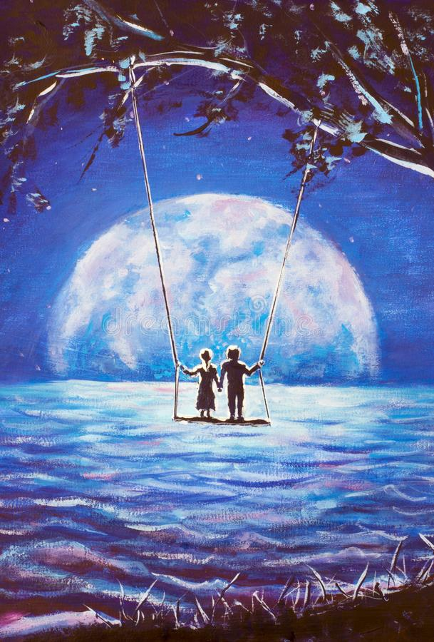 Lovers ride on swing, male man and girl woman against background of big moon. night blue ocean, sea waves, fantasy, romance, love,. Happiness, dreams artwork stock photo