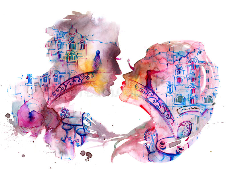 Lovers royalty free illustration