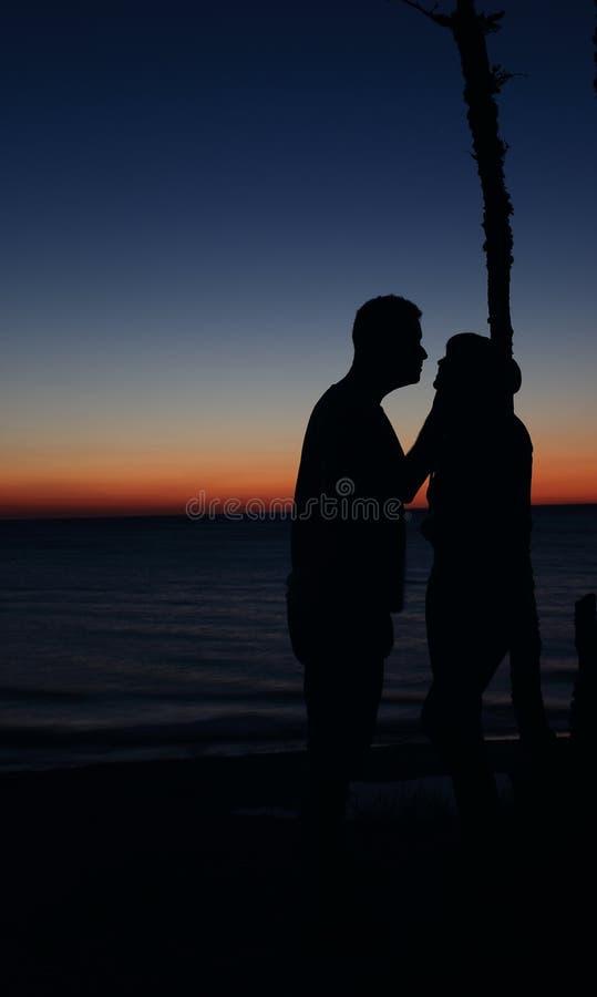 Lovers on a romantic evening stock photos