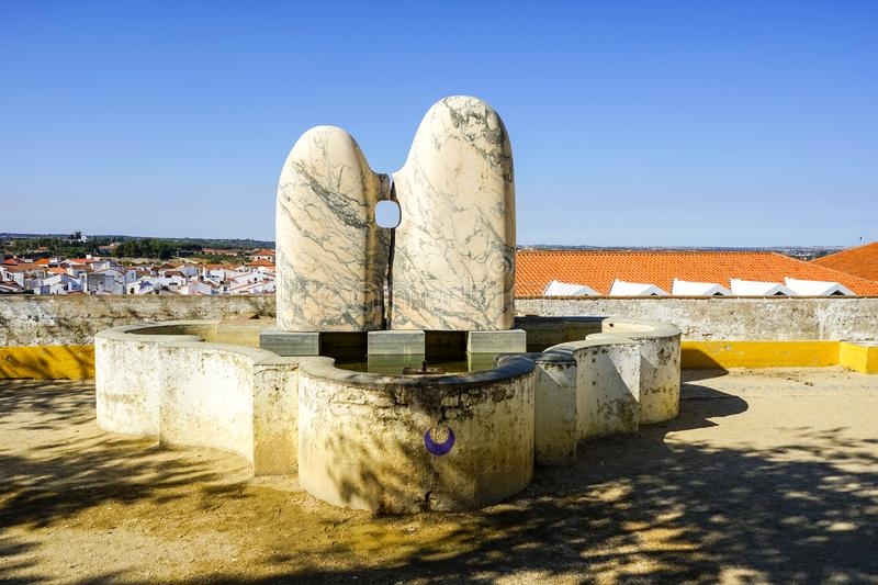 Lovers sculpture on Evora Central Place royalty free stock photo