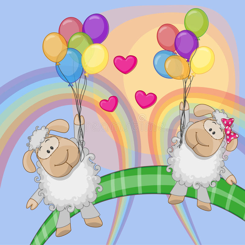 Lovers Sheep stock illustration