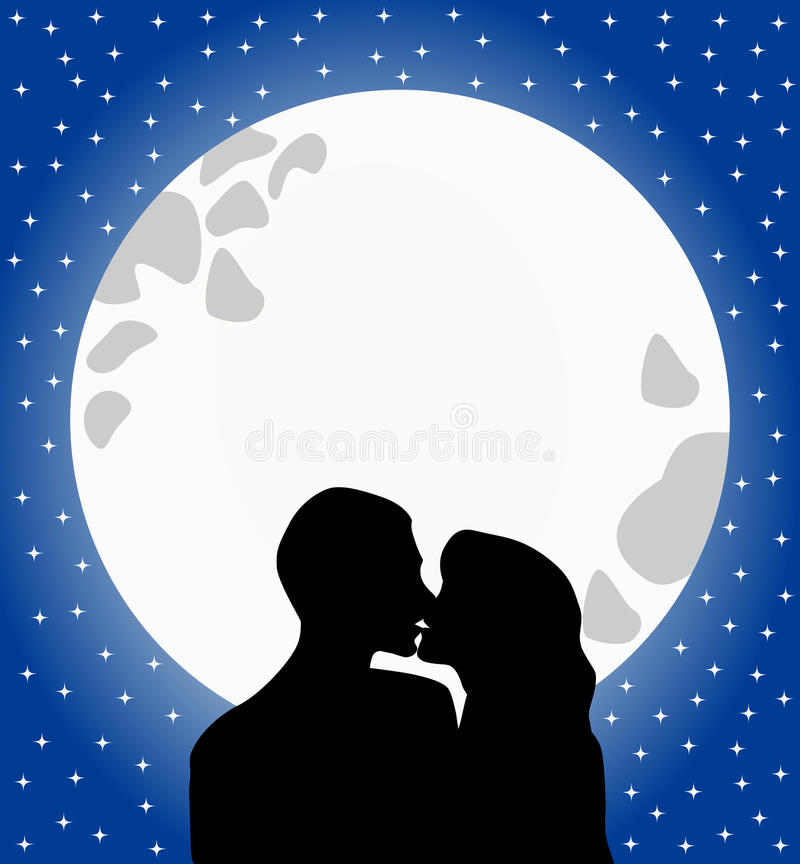 Lovers Silhouette Kissing at Moonlight royalty free illustration
