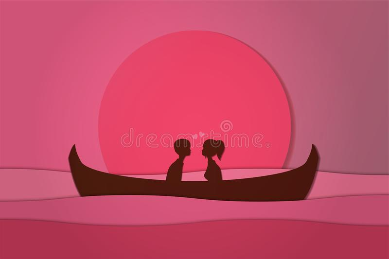 Lovers sit on a boat in the middle of the sea and have a sunset , paper art couple honeymoon , valentine day date vector illustration
