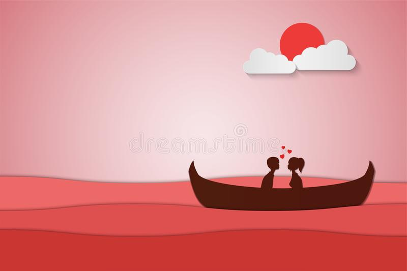 Lovers sit on a boat in the middle of the sea and have a sunset , paper art couple honeymoon , valentine day date , royalty free illustration