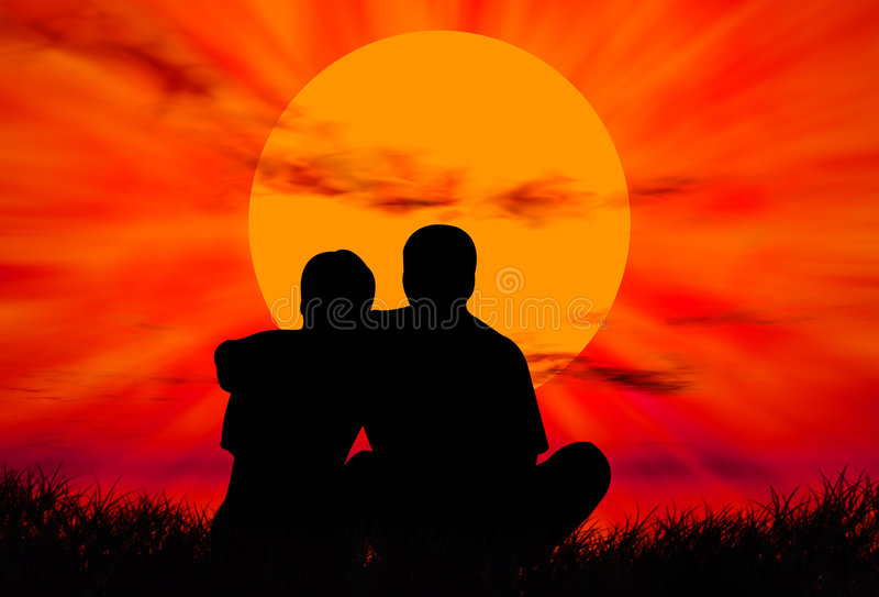 Lovers at sunset stock illustration