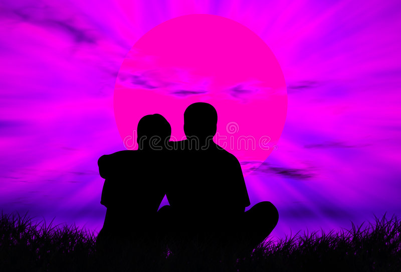 Lovers at sunset vector illustration