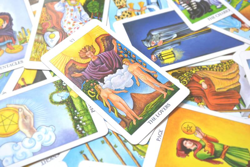 The Lovers Tarot Cards Love choices partnerships affection stock illustration