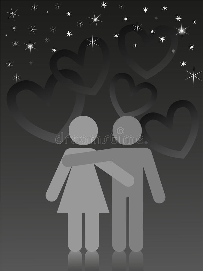 Lovers under a starry sky. Two lovers are embracing under a starry sky royalty free illustration