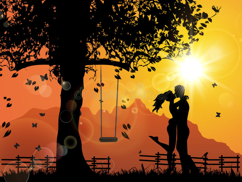 Lovers under Sunset. This is an illustration to show lovers kissing under sunset royalty free illustration