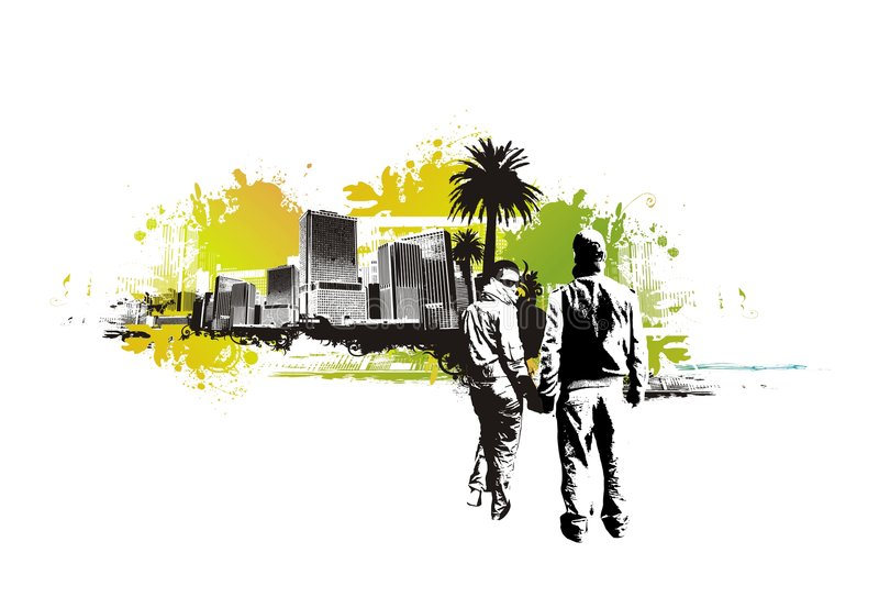 Lovers in the urban background vector illustration