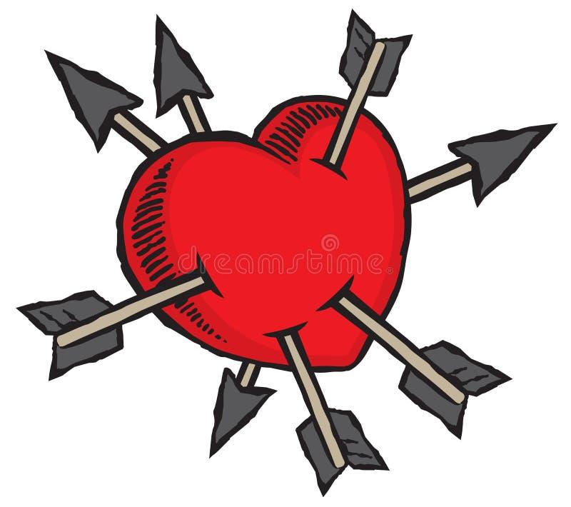 Lovestruck华伦泰的通过心脏射击与丘比特的箭头 皇族释放例证