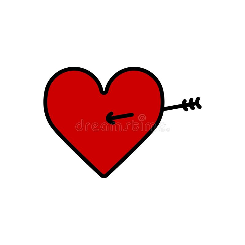 Lovestruck lub strzała przez kierowej płaskiej ikony dla apps i stron internetowych royalty ilustracja