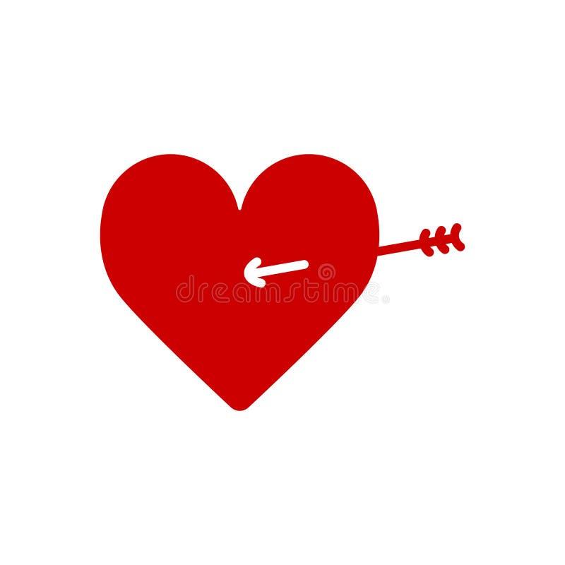 Lovestruck lub strzała przez kierowej płaskiej ikony dla apps i stron internetowych ilustracji