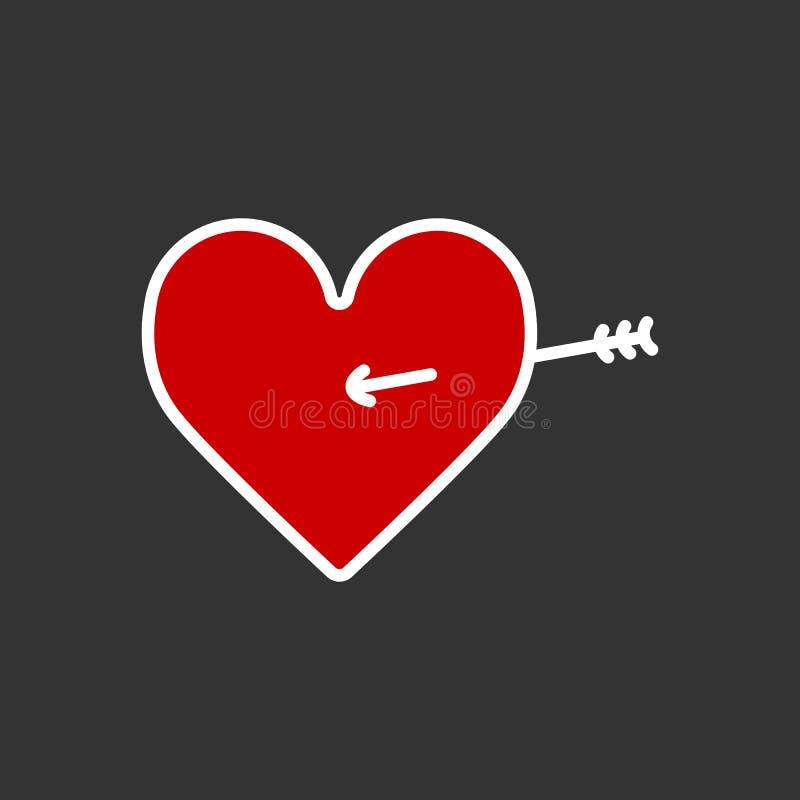 Lovestruck lub strzała przez kierowej płaskiej ikony dla apps i stron internetowych ilustracja wektor