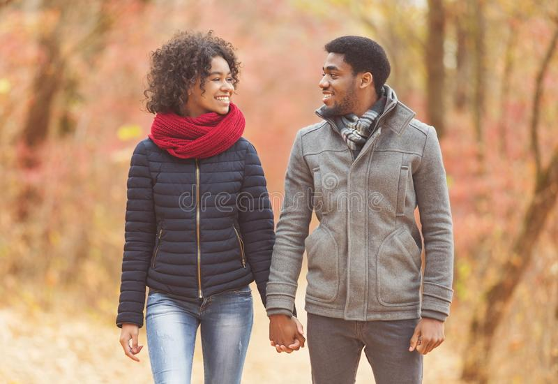 Loving afro couple walking in autumn park royalty free stock photography