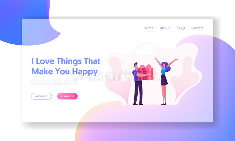 Loving Boyfriend Presenting Gift to Girlfriend Website Landing Page. Happy Valentine Day, Birthday or Holiday Surprise. Man and Woman in Relations Web Page stock illustration