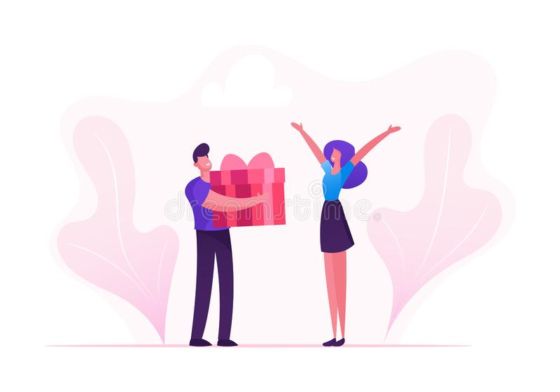 Loving Boyfriend Presenting Huge Wrapped Gift Box to Girlfriend on Happy Valentine Day, Birthday or any Holiday. Man and Woman in Relations. Happiness Surprise stock illustration