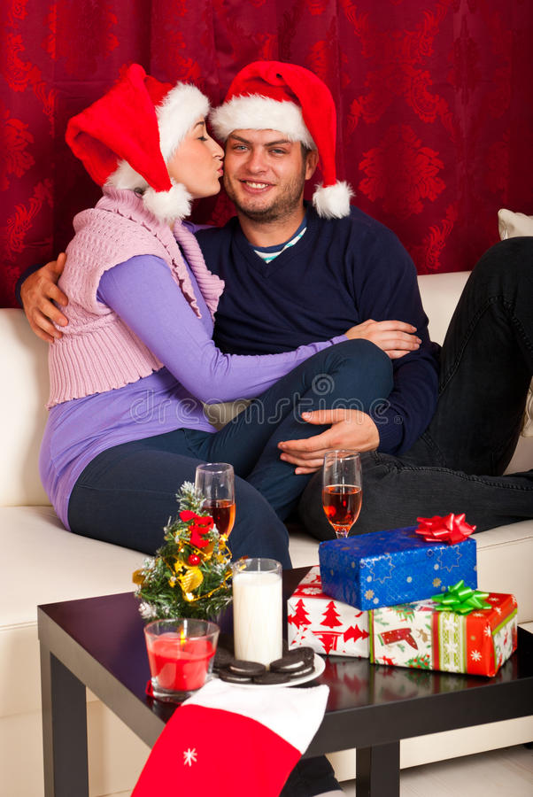 Loving Christmas couple