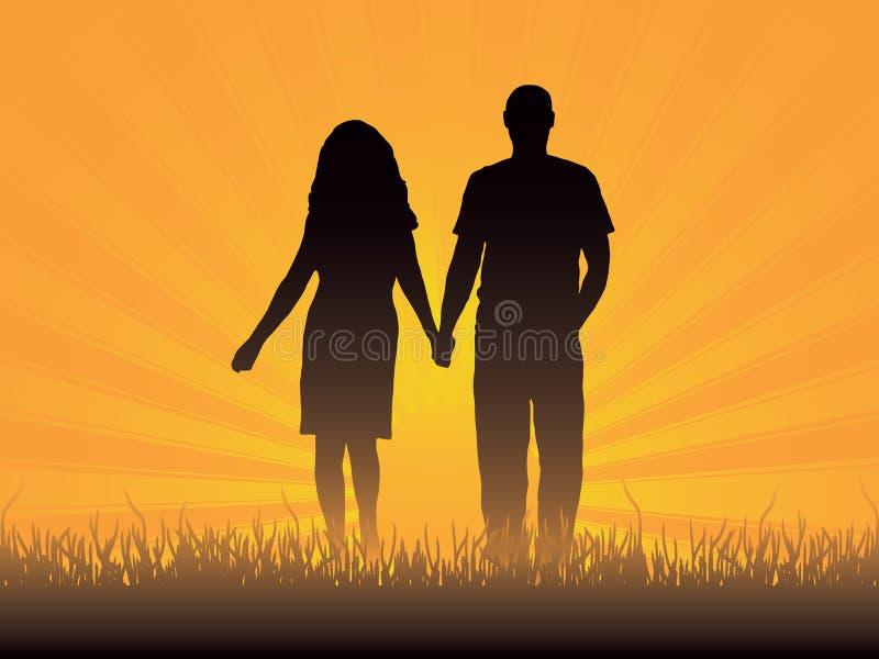 Loving couple. At sunset. Vector illustration stock illustration