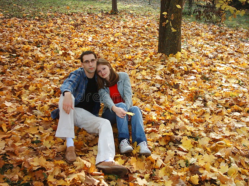 Download Loving couple stock image. Image of love, autumn, leafs - 164953