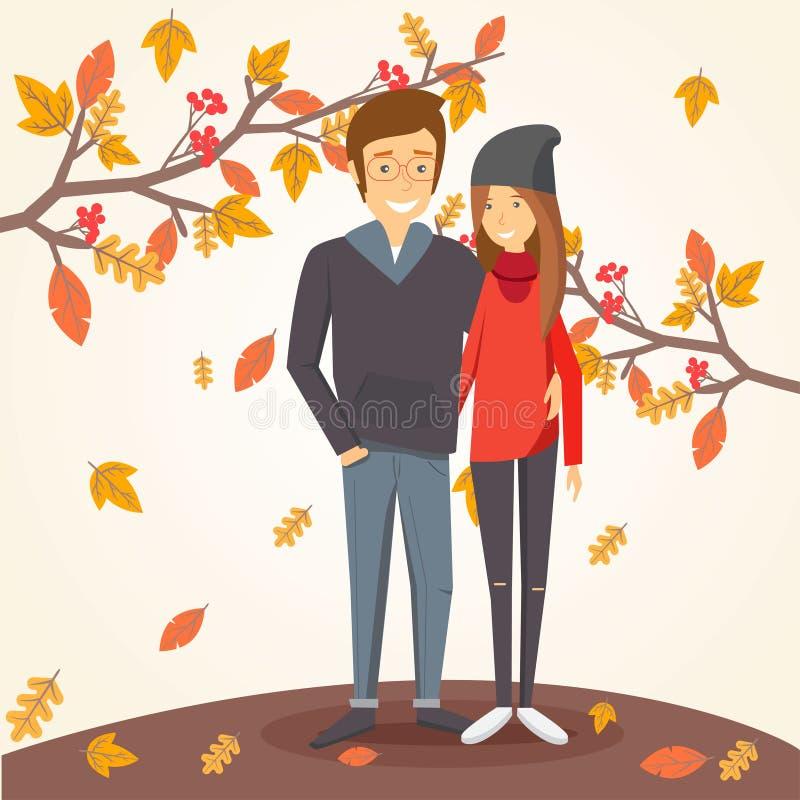 Loving couple in autumn amid falling leaves. Illustration vector illustration