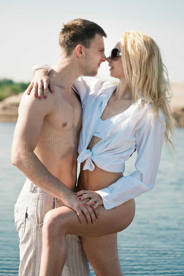 Download Loving couple on beach stock image. Image of pretty, cute - 25057661