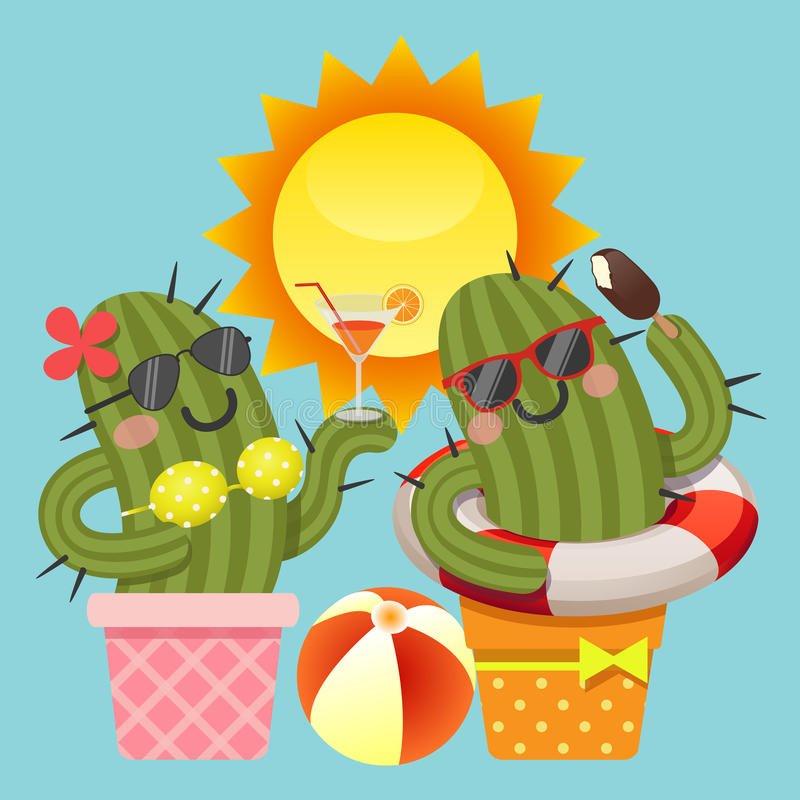 Loving couple of cactus with summer theme stock illustration