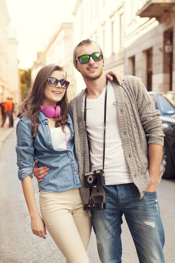 Loving couple in the city stock photography
