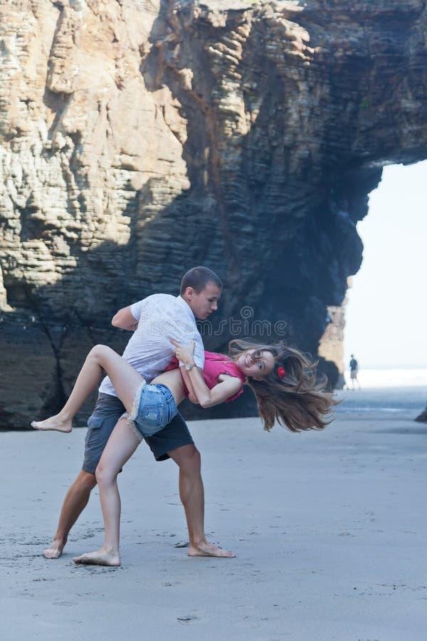 Loving couple dances stock photography