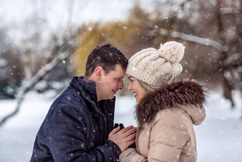 Loving couple enjoying together during winter holidays vacation stock image