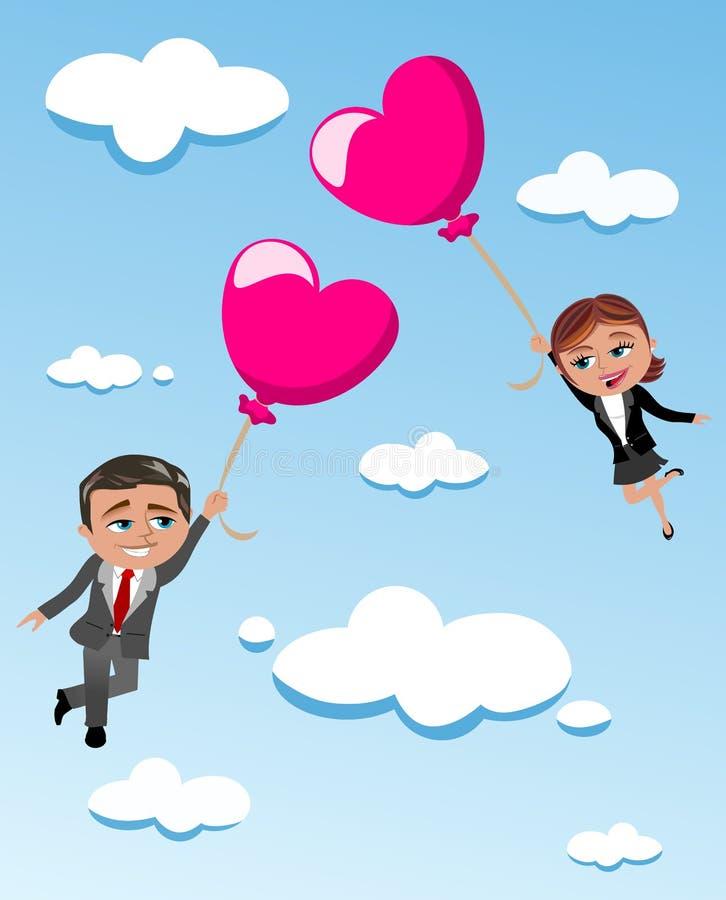 Loving Couple Flying Heart Shaped Balloons vector illustration