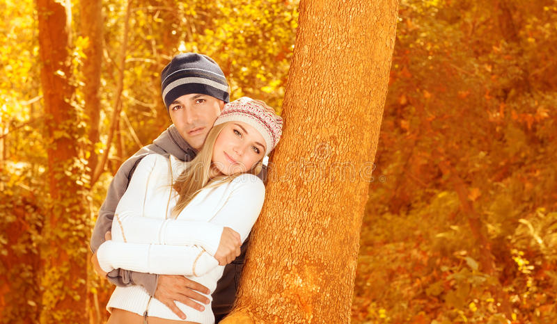 Download Loving couple in forest stock photo. Image of autumn - 27352410