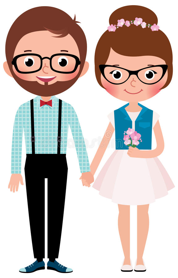 Loving couple hipsters bride and groom vector illustration