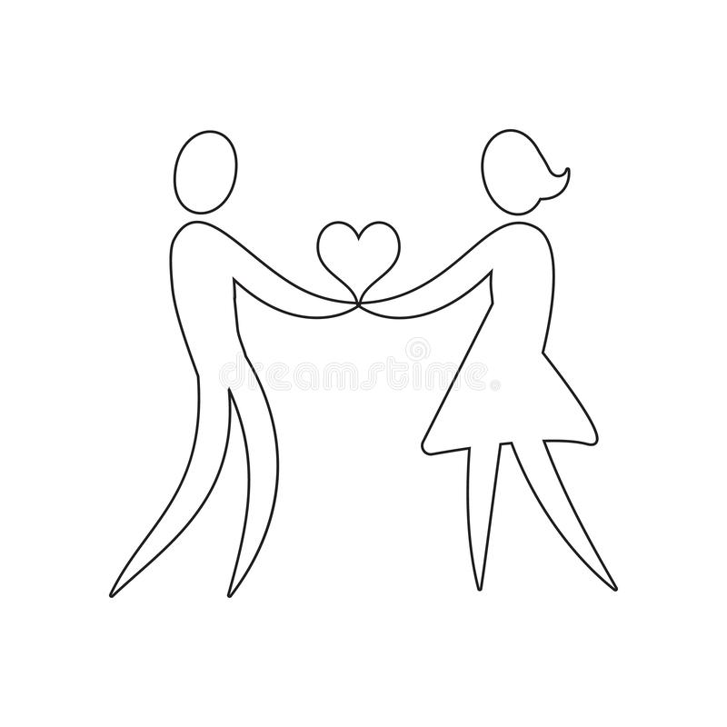 A loving couple holds a heart icon. Element of valentine\'s day, wedding for mobile concept and web apps icon. Outline, thin line. Icon for website design and stock images